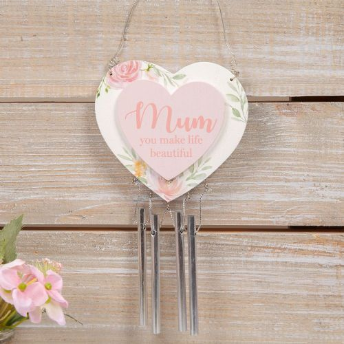 Heart Shape Mum Plaque With Hanging Windchime